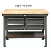 """Strong Hold 48""""W x 30""""D 4 Drawer with Plastic Top Workbench"""
