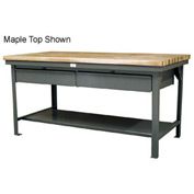 "Strong Hold 60""W x 36""D  x 34""H 2 Drawer with Maple Top Workbench"