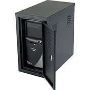 Security Computer CPU Enclosed Cabinet Side Car - Black