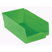 "Akro-Mils Plastic Shelf Bin Nestable 30130 - 6-5/8""W x 11-5/8""D x 4""D Green - Pkg Qty 12"