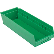 "Akro-Mils Plastic Shelf Bin Nestable 30138 - 6-5/8""W x 17-7/8""D x 4""H Green - Pkg Qty 12"