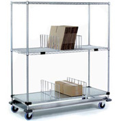Nexel® Open Sided Wire Exchange Truck 2 Wire 1 Galvanized Shelf 1000 Lb Cap