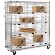 Nexel® Enclosed Wire Exchange Truck 5 Wire Shelves 1000 Lb. Cap.