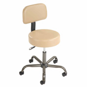 AntiMicrobial Medical Stool with Backrest - Vinyl - Beige