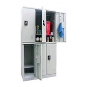 Sandusky Snapit  Boltless Steel Locker KDCL7236/6 Double Tier - 35-1/4x18x72 6 Door Unassembled Gray