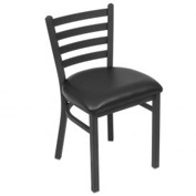 Vinyl Uphostered Restaurant Chair With Ladder Back - Textured Black - Pkg Qty 2