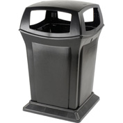 Rubbermaid Ranger® 45 Gallon 4 Openings Outdoor Trash Can - Black 9173-88