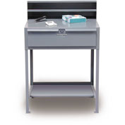 "36""W x 28""D Open Leg Shop Desk with Drawer - Gray"