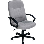 Executive Chair with Arms - Fabric - Mid Back - Gray
