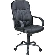 Executive Chair with Arms - Leather - Mid Back - Black