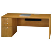 "Bush Quantum™ 72"" Left Credenza with Pedestal - Modern Cherry"