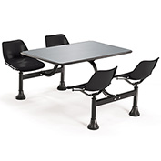 OFM 24 x 48 Cluster Seating - Stainless Steel Table with 4 Seats - Black Seats