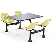 OFM 24 x 48 Cluster Seating - Stainless Steel Table with 4 Seats - Yellow Seats