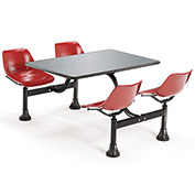 OFM 24 x 48 Cluster Seating - Stainless Steel Table with 4 Seats - Red Seats
