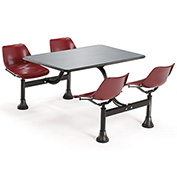 OFM 24 x 48 Cluster Seating - Stainless Steel Table with 4 Seats - Burgundy Seats