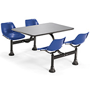 OFM 24 x 48 Cluster Seating - Stainless Steel Table with 4 Seats - Blue Seats