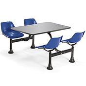 OFM 30 x 48 Cluster Seating - Stainless Steel Table with 4 Seats - Blue Seats