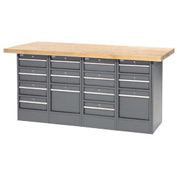 "72""W x 24""D Maple Top 14 Drawer Workbench"