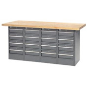 "72""W x 24""D Maple Top 16 Drawer Workbench"