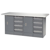 "72""W x 24""D Plastic Top 8 Drawer/2 Cabinet Workbench"