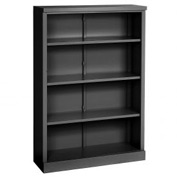 "Steel Bookcase 4 Shelves 34-1/2""W x 13""D x 52""H Easy Assembly Black"