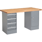 "60"" W x 24"" D Pedestal Workbench W/ 4 Drawers & 1 Cabinet, Maple Butcher Block Square Edge - Gray"