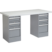 "72"" W x 24"" D Pedestal Workbench W/ Double 3 Drawers, Plastic Laminate Square Edge - Gray"