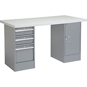 "60"" W x 24"" D Pedestal Workbench W/ 3 Drawers & 1 Cabinet, Plastic Laminate Square Edge - Gray"