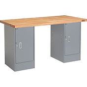 "60"" W x 24"" D Pedestal Workbench W/ Double Cabinet, Maple Butcher Block Square Edge - Gray"