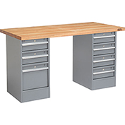 "60"" W x 24"" D Pedestal Workbench W/ 3 Drawers / 4 Drawers, Maple Butcher Block Square Edge - Gray"