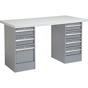 "72"" W x 24"" D Pedestal Workbench 3 Drawer / 4 Drawers, Plastic Laminate Square Edge - Gray"