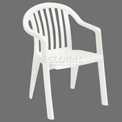 Grosfillex® Resin Lowback Stacking Outdoor Armchair - White - Pkg Qty 16