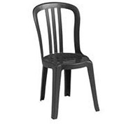 Grosfillex® Miami Bistro Resin Stacking Outdoor Sidechair Black - Pkg Qty 32