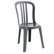Grosfillex® Miami Bistro Resin Stacking Outdoor Sidechair Charcoal - Pkg Qty 32