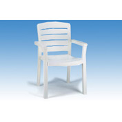 Grosfillex® Stacking Dining Outdoor Armchair Woodgrained - White - Pkg Qty 12