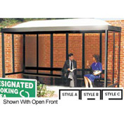 Smoking Shelter Dome Roof Three Sided With Open Front 15' X 10'