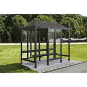 Smoking Shelter Vented Poly-Hip Roof 4 Side Left & Right Front Opening 15'X7'6