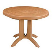 "Grosfillex® Atlantis 38"" Round Outdoor Folding Tables Woodgrained Teak"