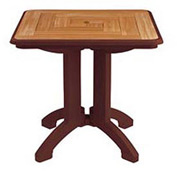 "Grosfillex® 32"" Square Outdoor Folding Tables 2-Tone Woodgrained Burgundy - Pkg Qty 2"