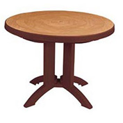 "Grosfillex® 38"" Round Outdoor Folding Tables 2-Tone Woodgrained Burgundy"