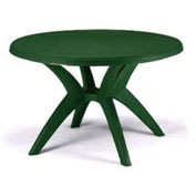 "Grosfillex® Ibiza Best Value 46"" Outdoor Round Resin Table with Umbrella Hole - Green"