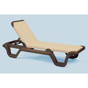 Grosfillex® Marina Adjustable Sling Chaise - Khaki/Bronze - Pkg Qty 2