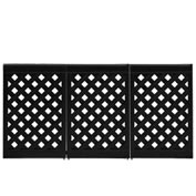 Grosfillex Portable Resin Outdoor Patio Fence, 3-Panel Section - Black