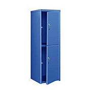 Pucel Heavy Duty Extra Wide Welded Steel Locker Double Tier 24x24x74 2 Door Blue