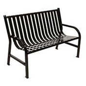 4 Feet Slatted Metal Bench - Black