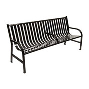 6 Feet Slatted Metal Bench With 3 Armrests - Black