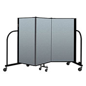 "Screenflex Portable Room Divider 3 Panel, 4'H x 5'9""L, Vinyl Color: Blue"