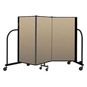 "Screenflex Portable Room Divider 3 Panel, 4'H x 5'9""L, Vinyl Color: Oatmeal"