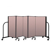 "Screenflex Portable Room Divider 5 Panel, 4'H x 9'5""L, Vinyl Color: Mauve"