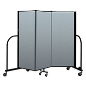 "Screenflex Portable Room Divider 3 Panel, 5'H x 5'9""L, Vinyl Color: Blue"